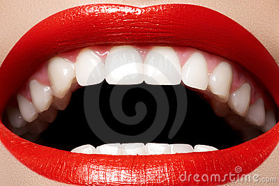 Dental. Smile with lips makeup, white health teeth