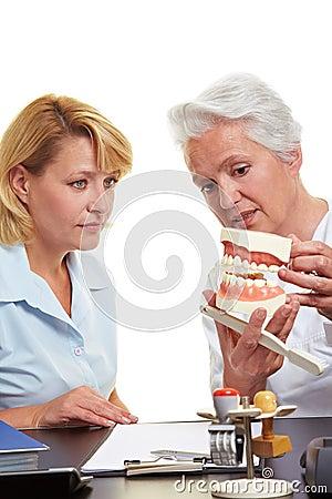 Dentist explaining treatment on