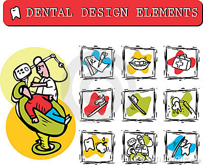 At dentist s office icons set clipart