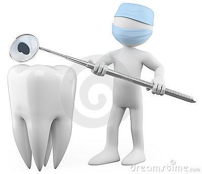 Dentist showing a cavity