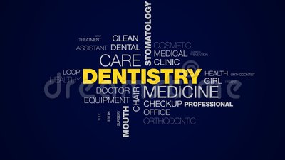Dentistry medicine care stomatology caries teeth whitening healthcare dentist mouth hygiene animated word cloud. Background in uhd 4k 3840 2160 stock footage