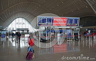 Dentro la stazione ferroviaria di Wuhan Fotografia Stock Editoriale