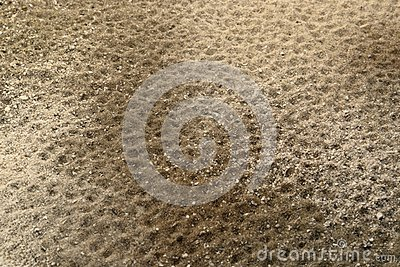 Dents in multitoned brown sand surface