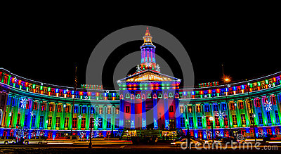 Denver City and County Building illuminated at nig