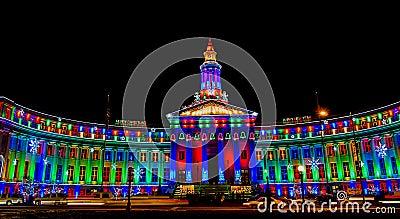 Denver City and County Building illuminated at nig