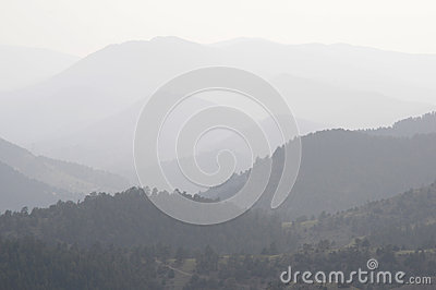 DENVER, CO - AUGUST 2012 - Wildfire smoke Editorial Stock Image