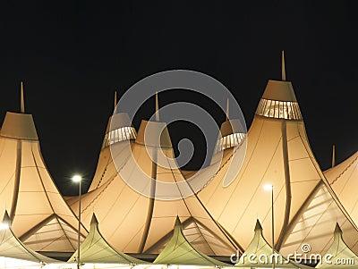 Denver International Airport At Night Stock Photo Image