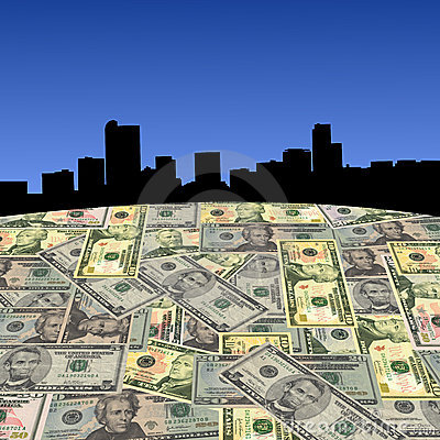 Denver skyline with dollars