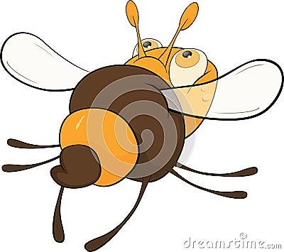 Departing bee. Cartoon