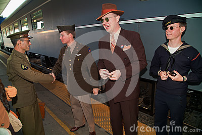 Departing on Troop Train Editorial Stock Image