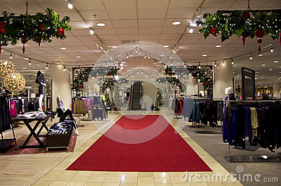 Department store mall shopping christmas tree ligh Editorial Image