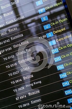 Departure board at Asian airport
