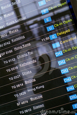 Free Departure Board At Asian Airport Royalty Free Stock Images - 1420259