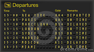 Departure board - destination airports.