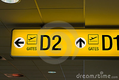 Departure gate sign in the airport