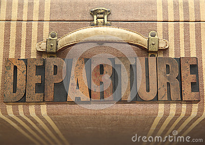 Departure word on old luggage
