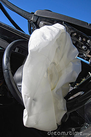 Deployed Crash Air Bag in a Car after an Accident