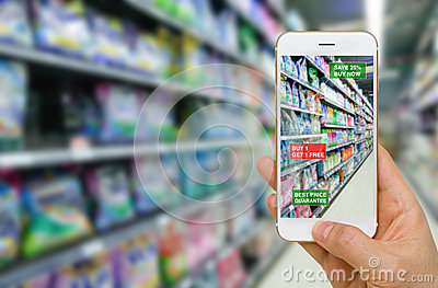 Deployment of Augmented Reality in Retail Business Concept in Su Stock Photo