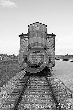 Deportation wagon at Auschwitz Birkenau Editorial Stock Photo