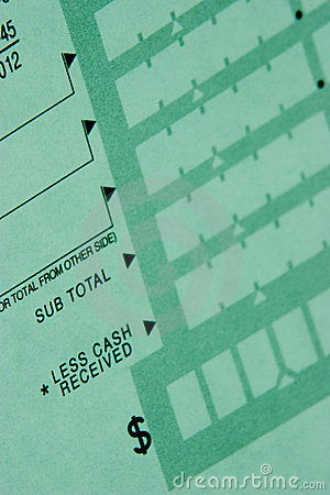 Deposit slip from Checking Account