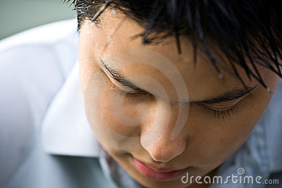 Depressed asian man