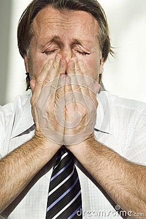 Depressed atressed businessman