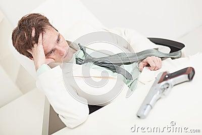 Depressed businessman to prepare for kill oneself
