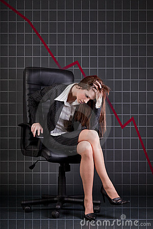 Free Depressed Businesswoman Sitting In Office Armchair Stock Image - 19408671