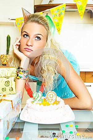 Depressed girl celebrating birthday