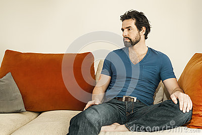 Depressed man with beard