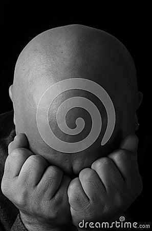 Depressed man - black & white