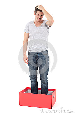 Depressed man in the box