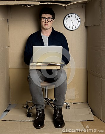 Free Depressed Manager Is Laboring In Office Overtime Royalty Free Stock Images - 110328199