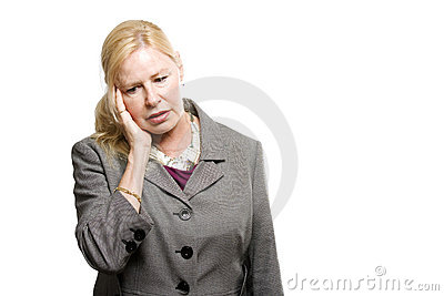 Depressed older business woman
