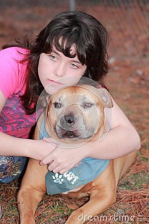 Depressed sad teen girl  dog