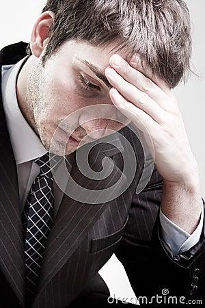 Depressed sad tired business man