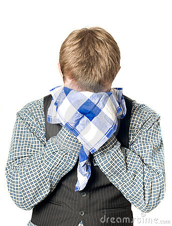 Depressed or sick man with handkerchief