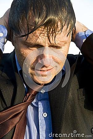 Depressed and stressed businessman