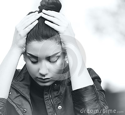 Free Depressed Teen Girl Showing Sadness And Stress Royalty Free Stock Image - 111100756