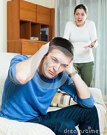 Depressedg guy listening to woman