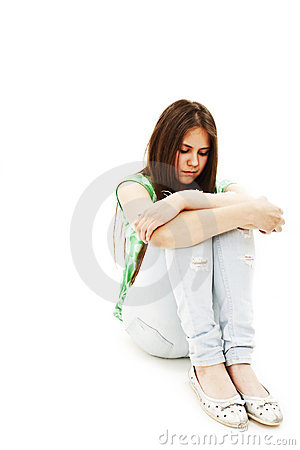 Depression teen girl cried lonely