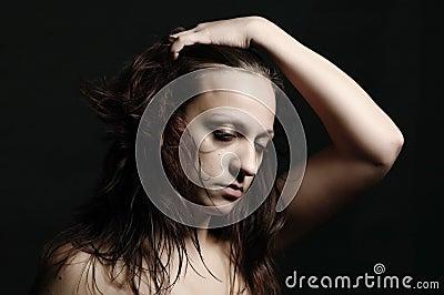 Depression, unhappy woman