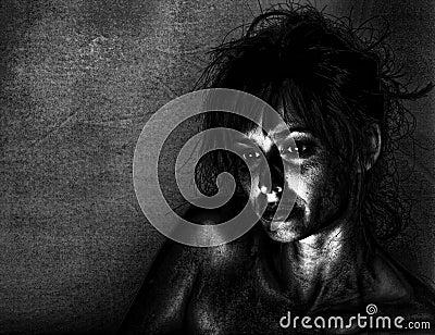 Deprimierte Frau
