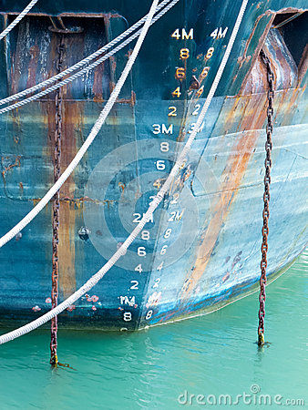 Free Depth Scale On Bow Of Anchored Ship In Grungy Blue Royalty Free Stock Photos - 26020328