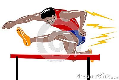 Der Athlet die Hürde springend