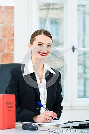 Rechtsanwalt im Büro, das Anmerkungen in einer Datei macht