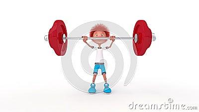 Der kleine Junge 3D mit einer Stange