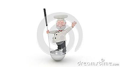 Der Koch 3D mit einem Schöpflöffel. stock video