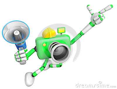 Der linke Handpunkt der Finger Ingenieur Green Camera Character.