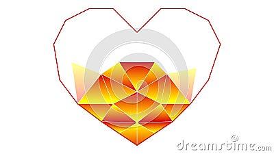 Der Prozess des Zeichnens des Herzens in einer polygonalen Technik Symbol und Metapher der Liebe bildschirm lizenzfreie abbildung